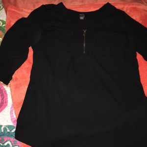 Zip Up .. Black Top With Pockets